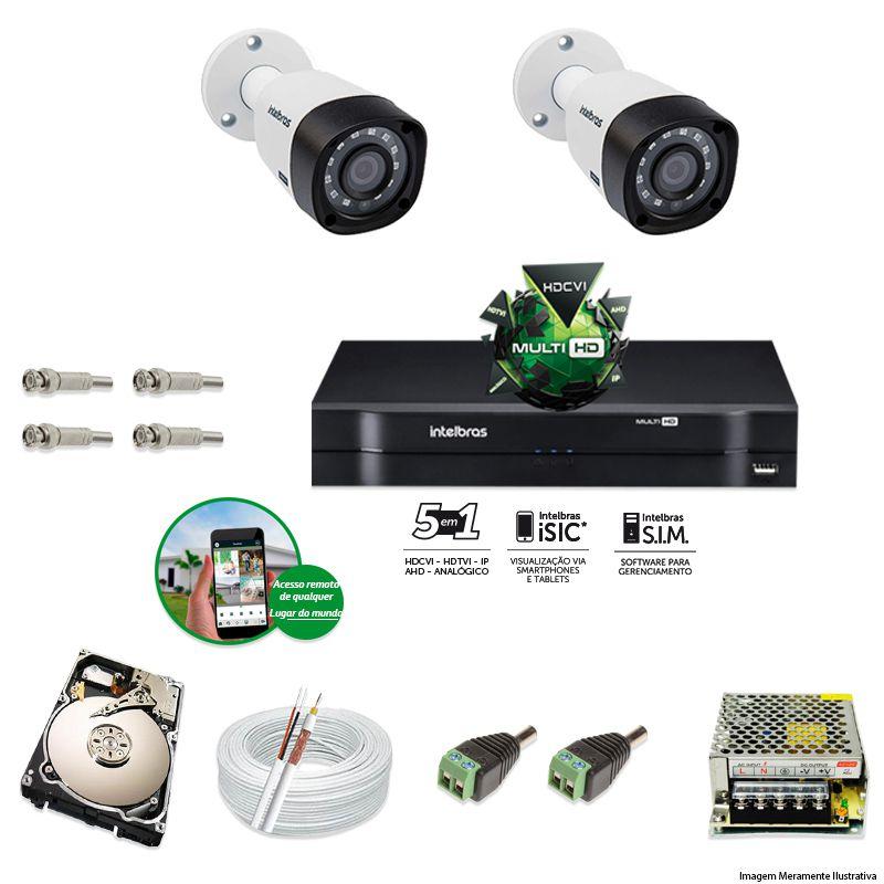 Kit Cftv 2 Câmeras VHD 1010B Bullet 720p Dvr 4 Canais Intelbras MHDX + HD 2TB
