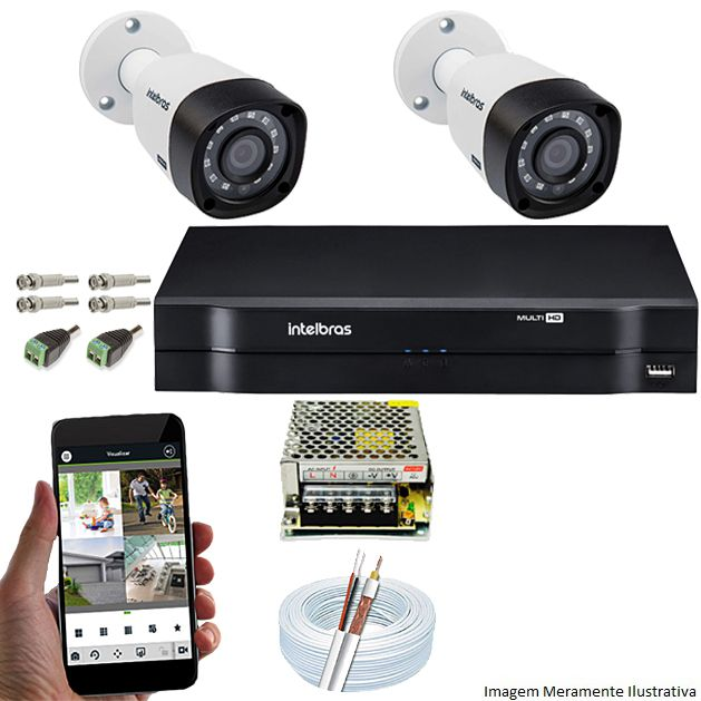 Kit Cftv 2 Câmeras VHD 1120 Bullet 720p Dvr 4 Canais Intelbras MHDX + ACESSÓRIOS
