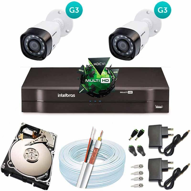 Kit Cftv 2 Câmeras VHD 1120B Bullet 720p Dvr 4 Canais Intelbras MHDX + HD 250GB