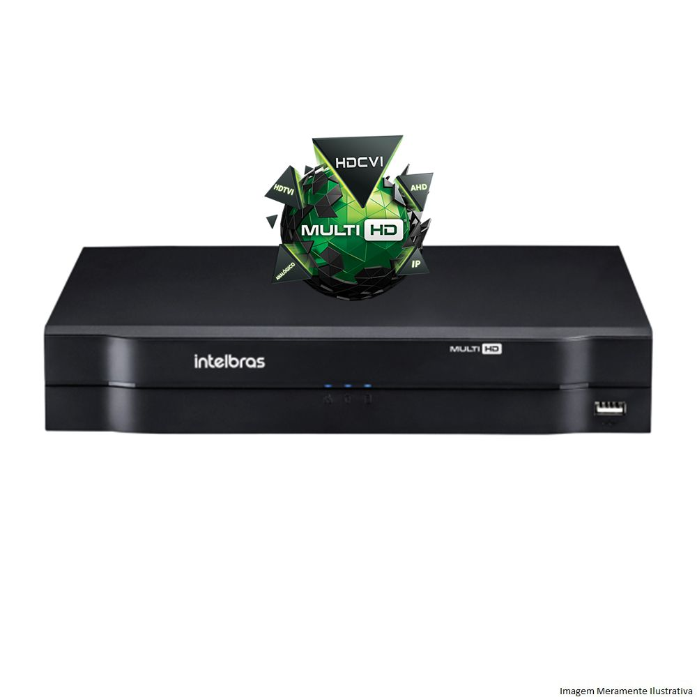 Kit Cftv 2 Câmeras VHD 1120 Bullet 720p Dvr 4 Canais Intelbras MHDX + HD 500GB