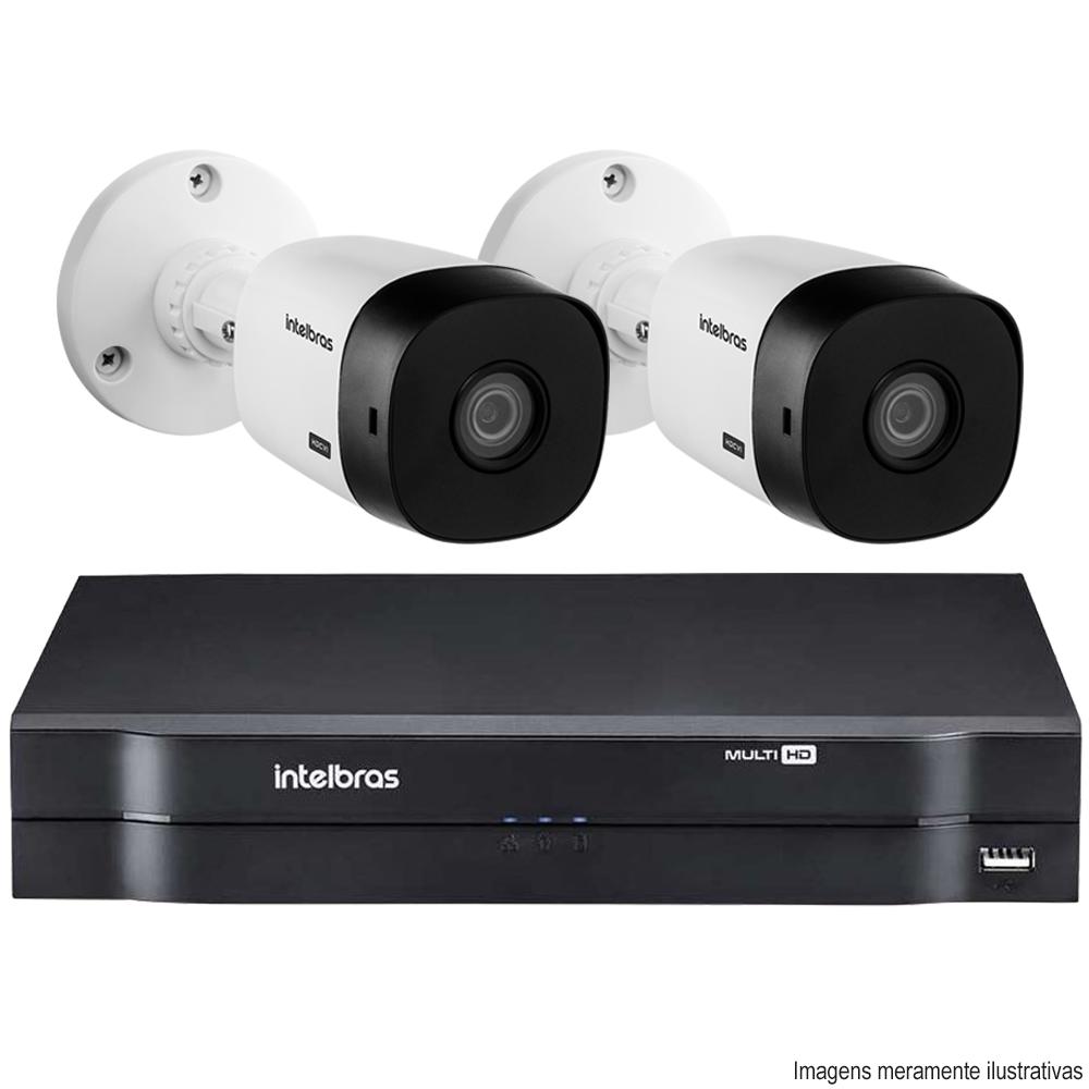 Kit Cftv 2 Câmeras VHD 1120B Bullet 720p Dvr 4 Canais Intelbras MHDX + HD WDP 2TB