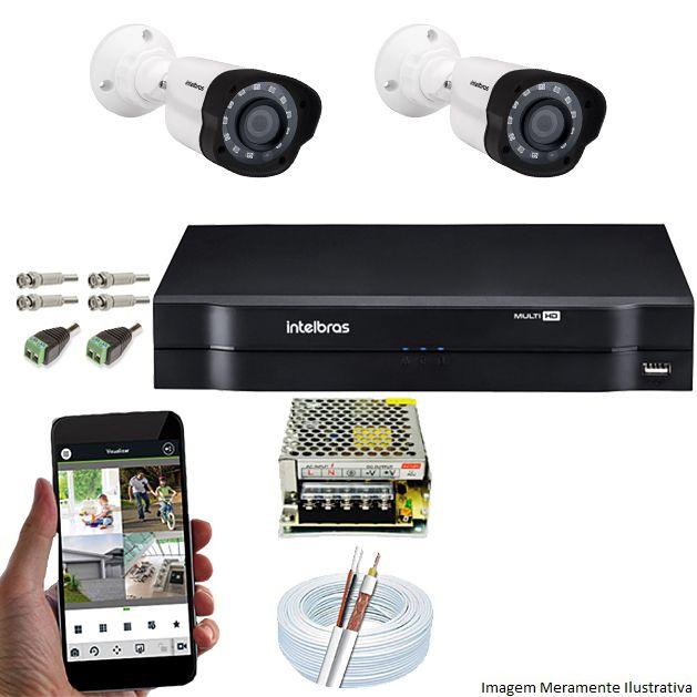 Kit Cftv 2 Câmeras VM 1120B Bullet G4 720p Dvr 4 Canais Intelbras MHDX + ACESSÓRIOS