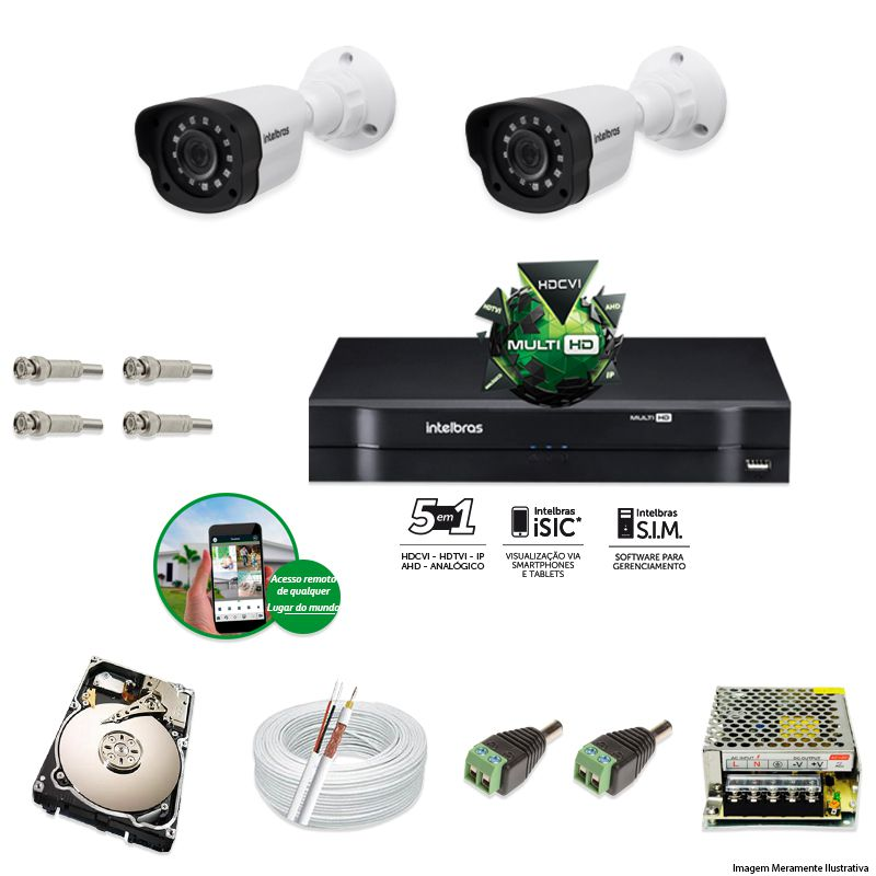 Kit Cftv 2 Câmeras VM 1120B Bullet G4 720p Dvr 4 Canais Intelbras MHDX + HD 2TB