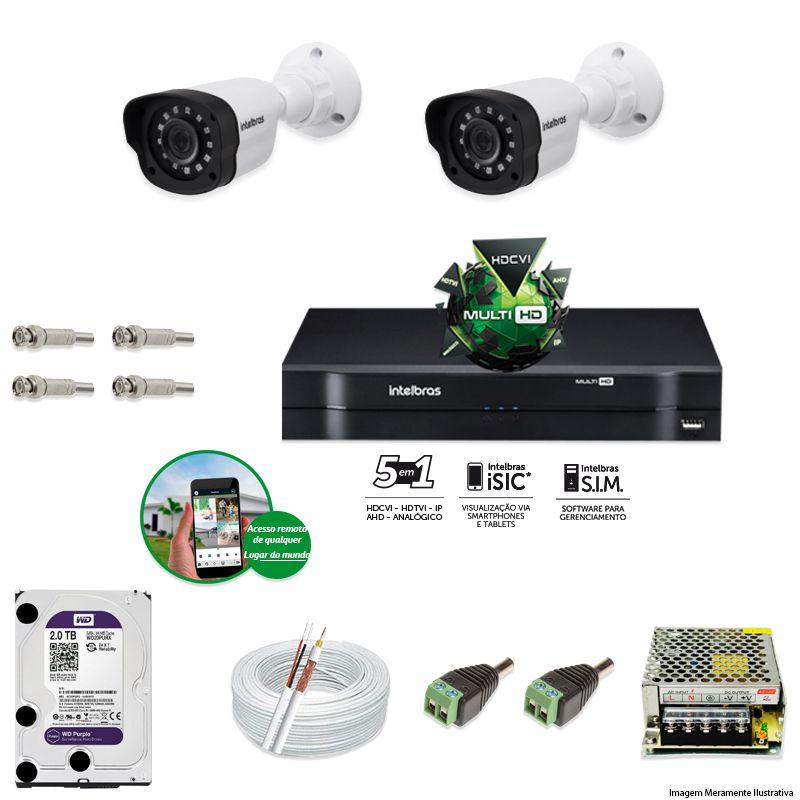 Kit Cftv 2 Câmeras VM 1120B Bullet G4 720p Dvr 4 Canais Intelbras MHDX + HD WDP 2TB