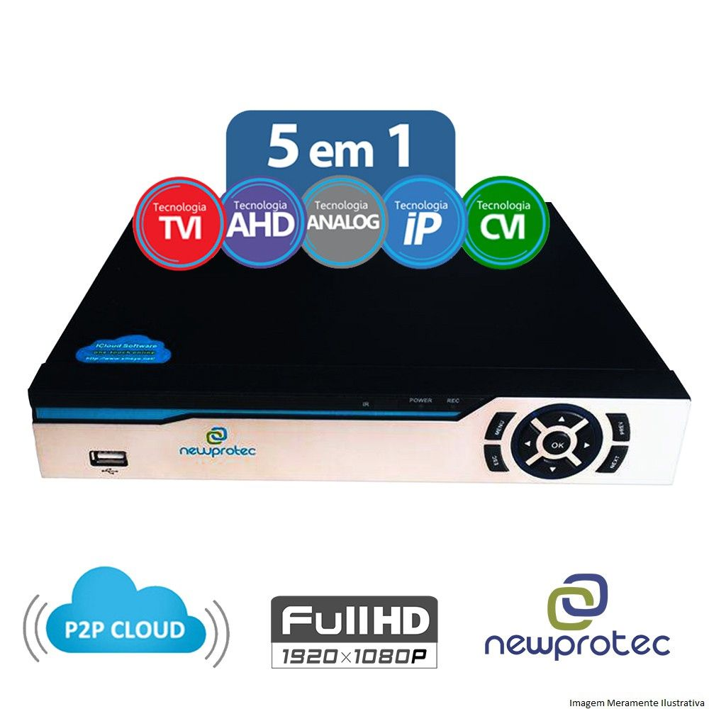 Kit Cftv 3 Câmeras CCD Infravermelho 3,6MM 1200L Dvr 4 Canais Newprotec + HD 500GB