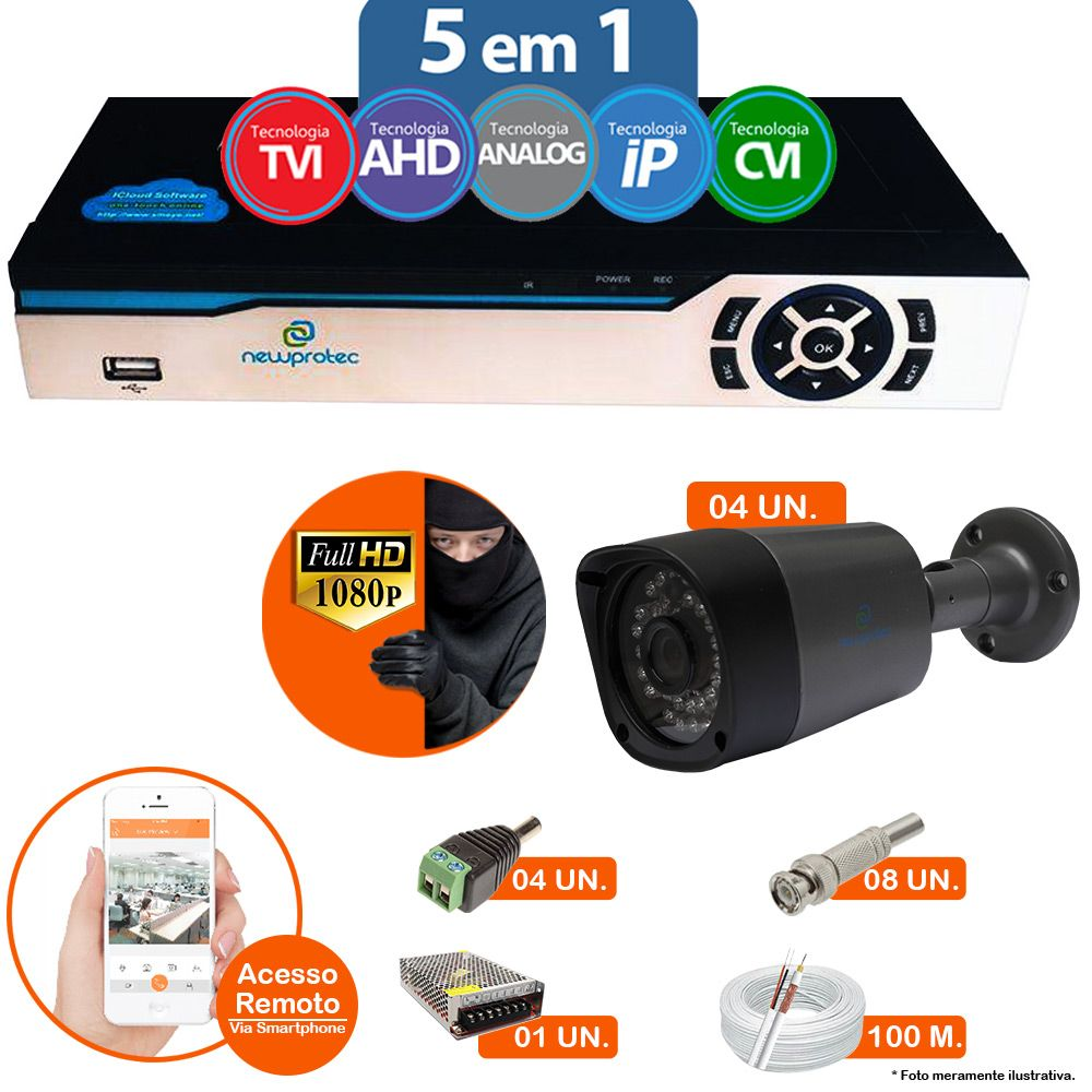 Kit Cftv 4 Câmeras 1080p IR BULLET AHD-H NP 1000 3,6MM 3.0MP Dvr 4 Canais Newprotec 5 em 1 AHD, HDCVI, HDTVI E ANALOGICO E IP + ACESSORIOS