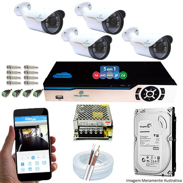 Kit Cftv 4 Câmeras 1080p IR BULLET NP 1004 Dvr 4 Canais Newprotec 5 em 1 + HD 500GB