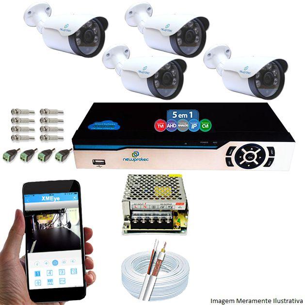 Kit Cftv 4 Câmeras 1080p IR BULLET NP 1004 Dvr 8 Canais Newprotec + ACESSORIOS