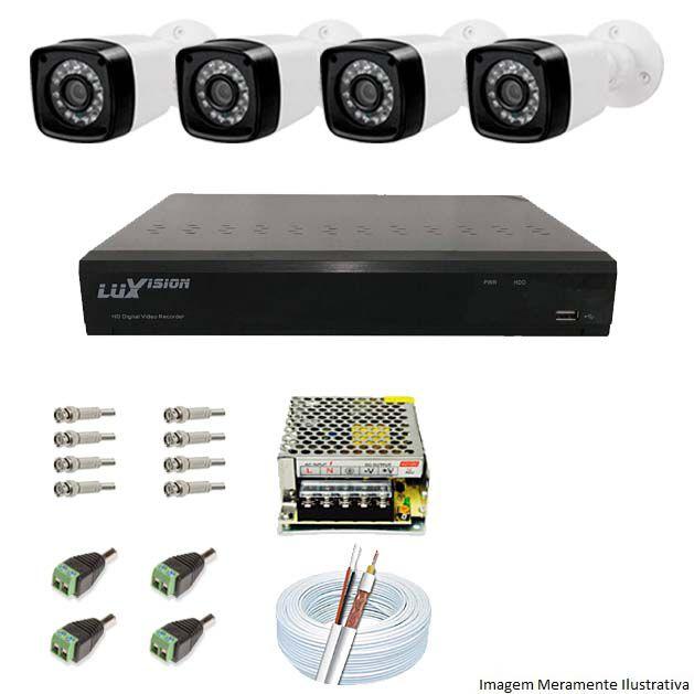 Kit Cftv 4 Câmeras AHD-M 720P Dvr 4 Canais Luxvision 720p + Acessórios