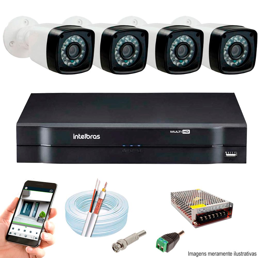 Kit Cftv 4 Câmeras Ahd-M 720P Dvr 8 Canais Mhdx Intelbras 5 Em 1 + Acessórios