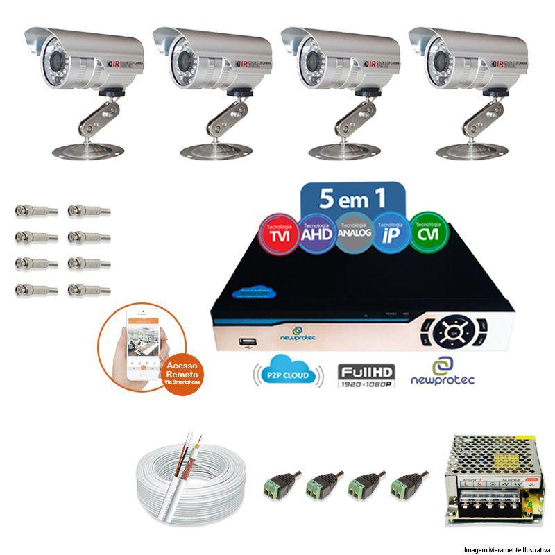 Kit Cftv 4 Câmeras Bullet CCD Infravermelho 3,6MM 1200L Dvr 4 Canais Newprotec