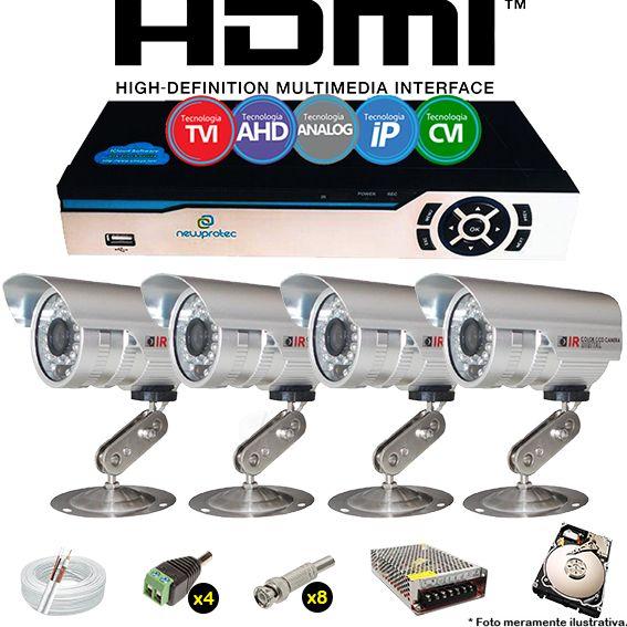 Kit Cftv 4 Câmeras Bullet CCD Infravermelho 3,6MM 1200L Dvr 4 Canais Newprotec + HD 250GB