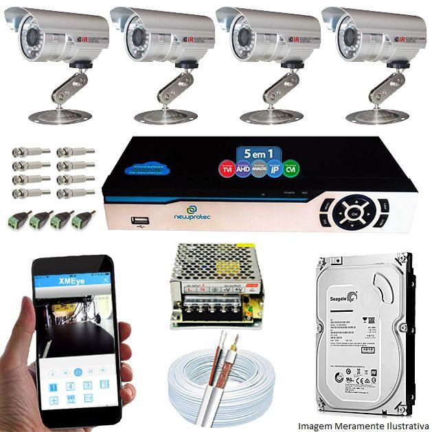Kit Cftv 4 Câmeras Bullet CCD Infravermelho 3,6MM 1200L Dvr 4 Canais Newprotec + HD 500GB