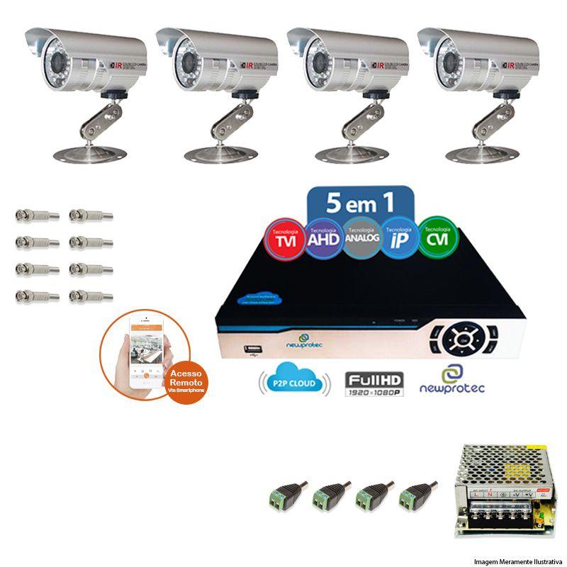Kit Cftv 4 Câmeras Bullet CCD Infravermelho 3,6MM 1200L Dvr 4 Canais Newprotec S/ CABO + ACESSORIOS