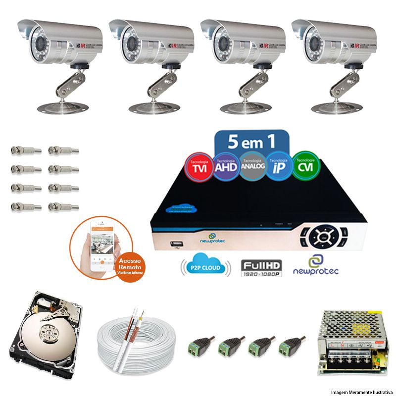 Kit Cftv 4 Câmeras Bullet CCD Infravermelho 3,6MM 1200L Dvr 8 Canais Newprotec + HD 2TB