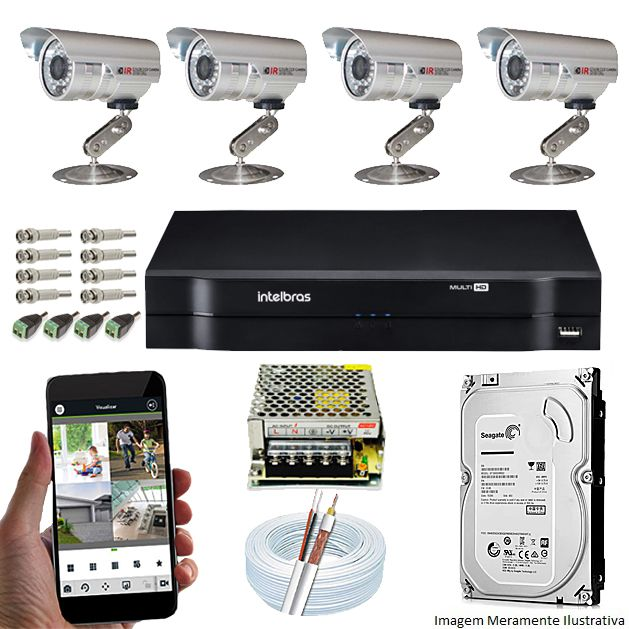KIT CFTV 4 Câmeras CCD 1/3 3,6MM DVR 4 Canais Intelbras + HD 320GB