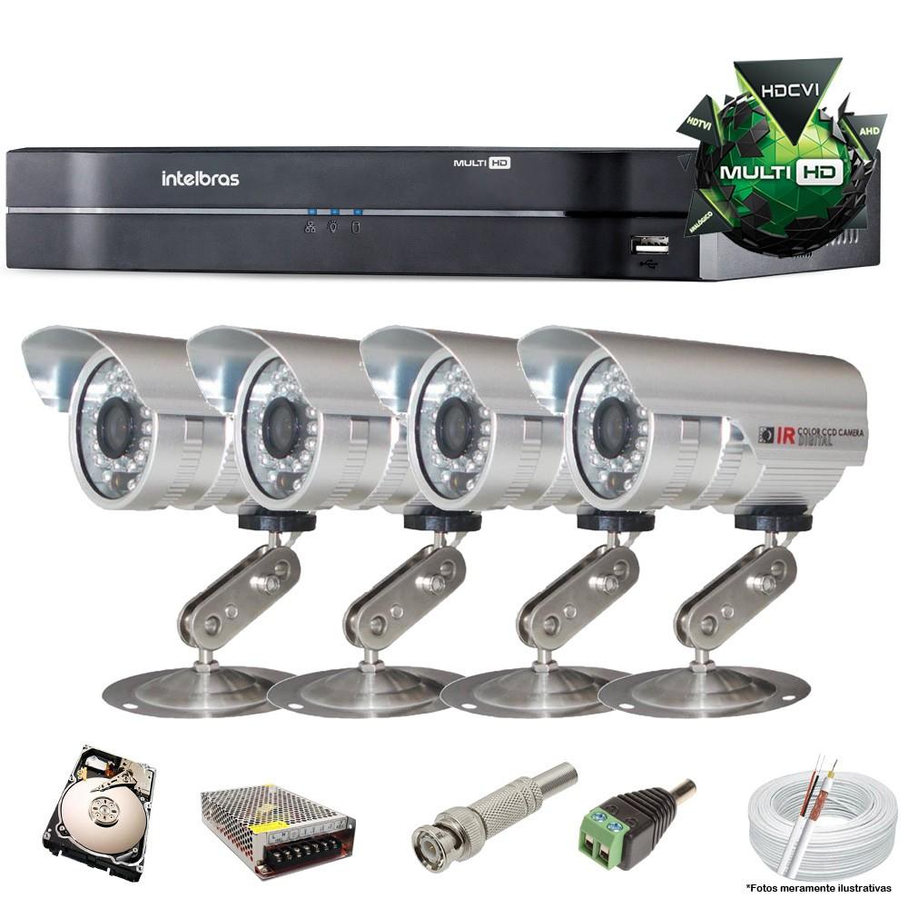 KIT CFTV 4 Câmeras CCD Infravermelho 1200 TVL 3,6MM + DVR 4ch Intelbras 5 + HD 250 GB Completo