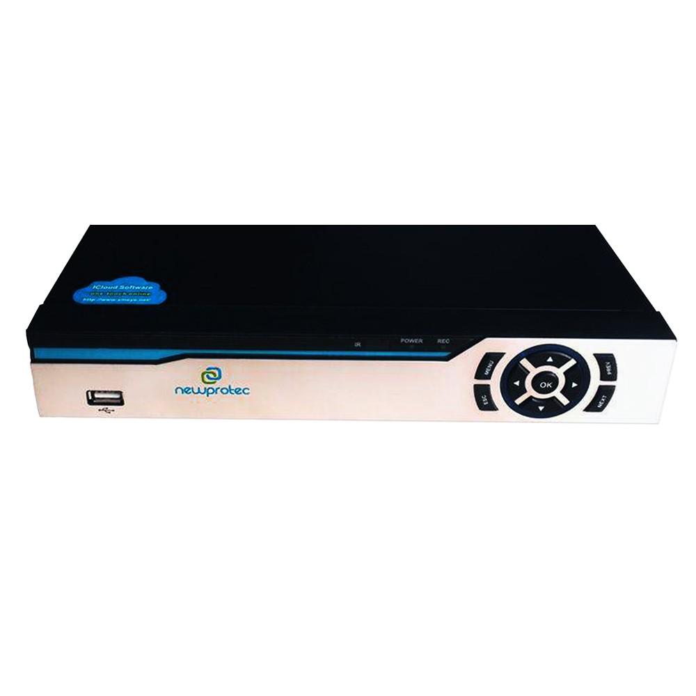 Kit Cftv 4 Câmeras Bullet CCD Infravermelho 3,6MM 1200L Dvr 4 Canais Newprotec 5 em 1 AHD, HDCVI, HDTVI E ANALOGICO E IP + CABO