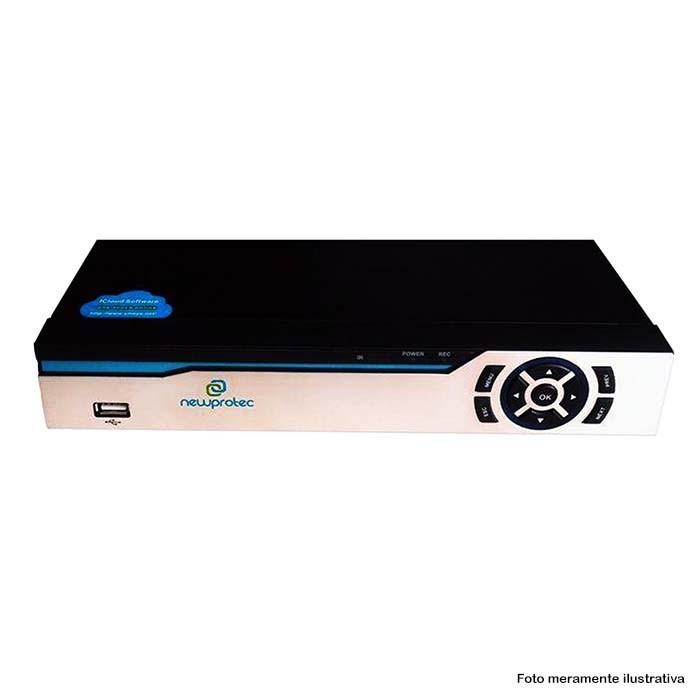 Kit Cftv 4 Câmeras Bullet CCD Infravermelho 3,6MM 1200L Dvr 4 Canais Newprotec 5 em 1 AHD, HDCVI, HD\TVI E ANALOGICO E IP + HD 500GB Completo