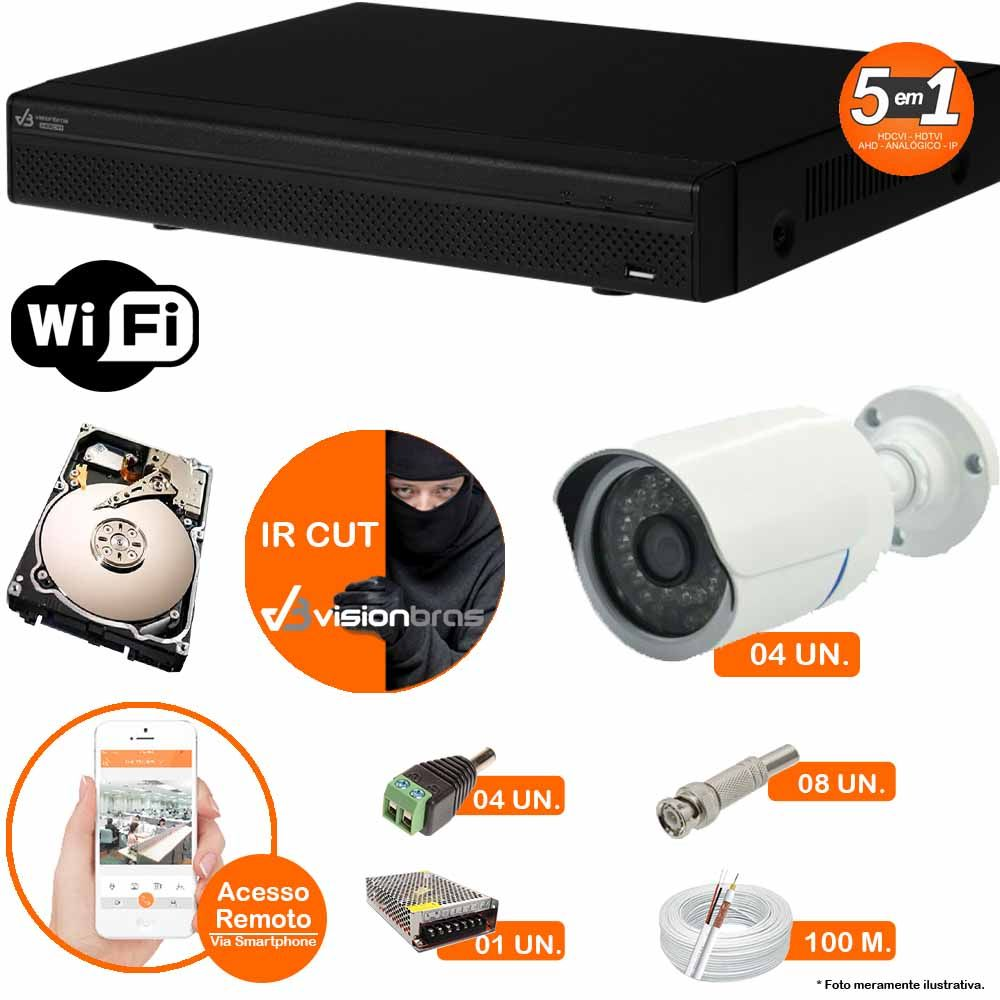 Kit Cftv 4 Câmeras IR CUT 3,6MM 1500L Dvr 8 Canais Visionbras XVR 720p + HD 320GB
