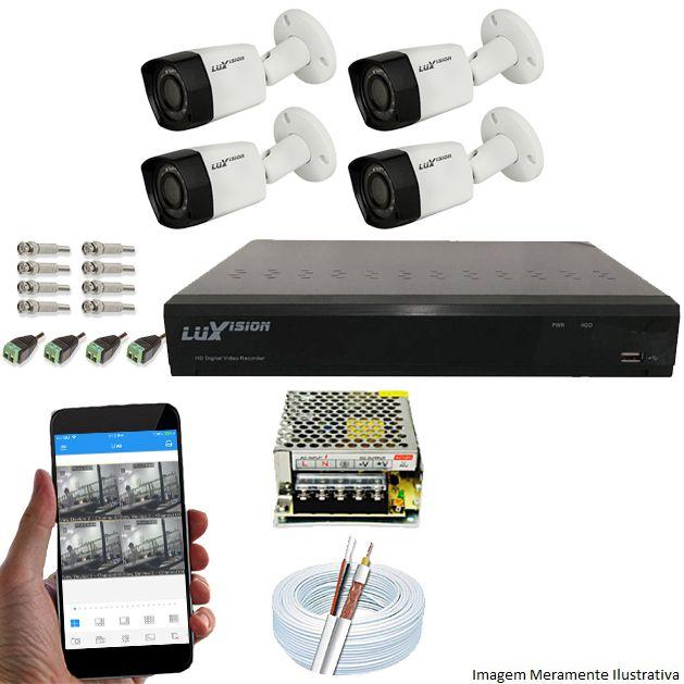 Kit Cftv 4 Câmeras Luxvision 720p Dvr 4 Canais Luxvision ECD 5 em 1 + Acessórios