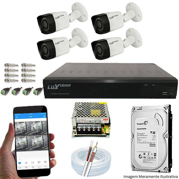 Kit Cftv 4 Câmeras Luxvision 720p Dvr 4 Canais Luxvision ECD 5 em 1 + HD 320GB