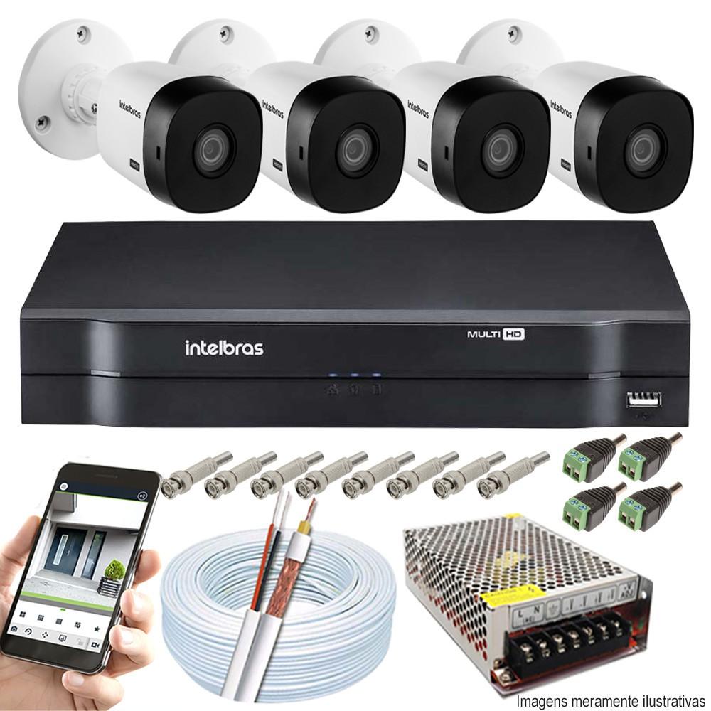Kit Cftv 4 Câmeras VHD 1010 Bullet 720p Dvr 4 Canais Intelbras MHDX + CABO