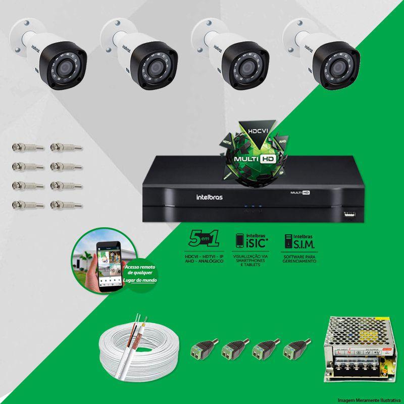Kit Cftv 4 Câmeras VHD 1010B Bullet 720p Dvr 4 Canais Intelbras MHDX + CABO