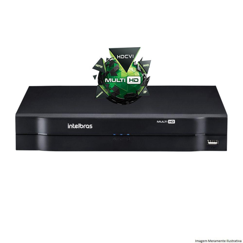 Kit Cftv 4 Câmeras VHD 1120 Bullet 720p Dvr 4 Canais Intelbras MHDX + Acessórios