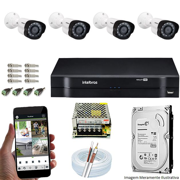 Kit Cftv 4 Câmeras VM 1120B Bullet G4 720p Dvr 8 Canais Intelbras MHDX + HD 2TB