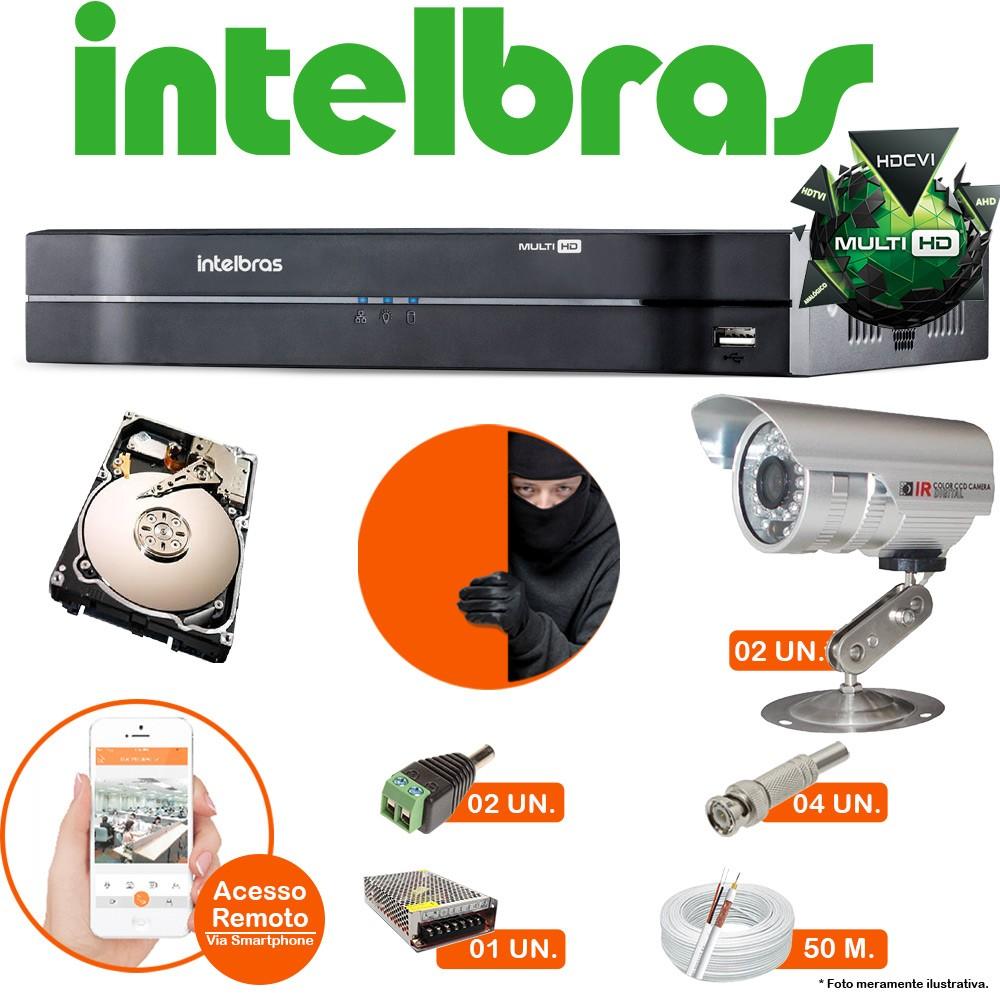 Kit Cftv 4 Canais Intelbras G3 2 Cameras Infra C/ Hd 250 Gb