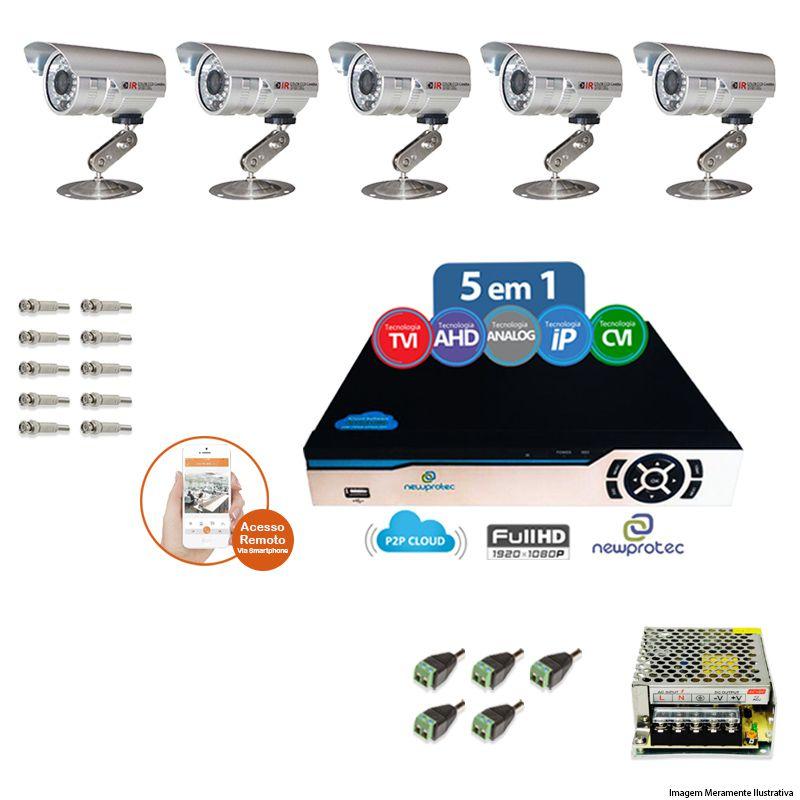 Kit Cftv 5 Câmeras Bullet CCD Infravermelho 3,6MM 1200L Dvr 8 Canais Newprotec + ACESSORIOS