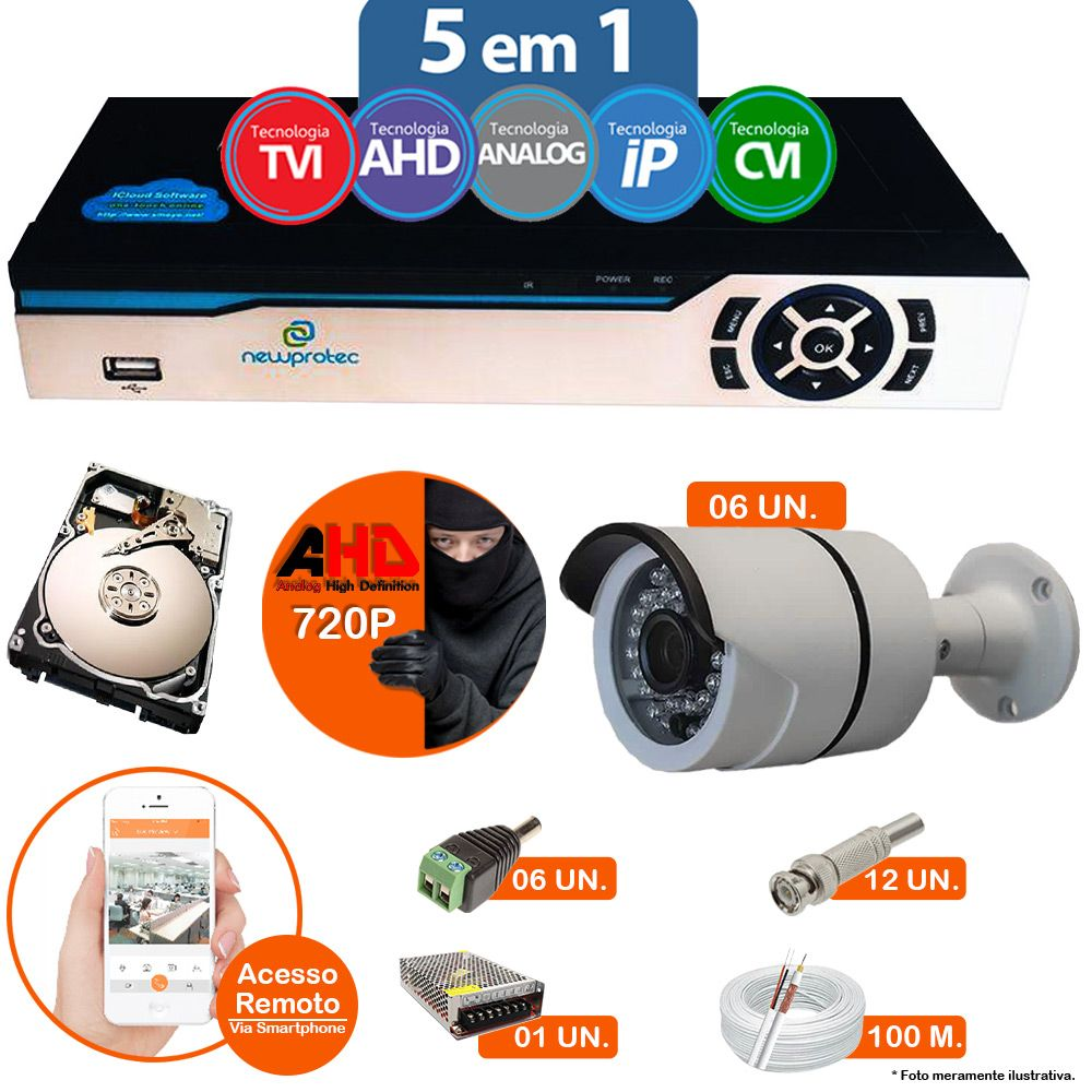 Kit Cftv 6 Câmeras 720p IR BULLET AHD-M 8816 3,6MM 2.0MP Dvr 8 Canais Newprotec + HD 500GB