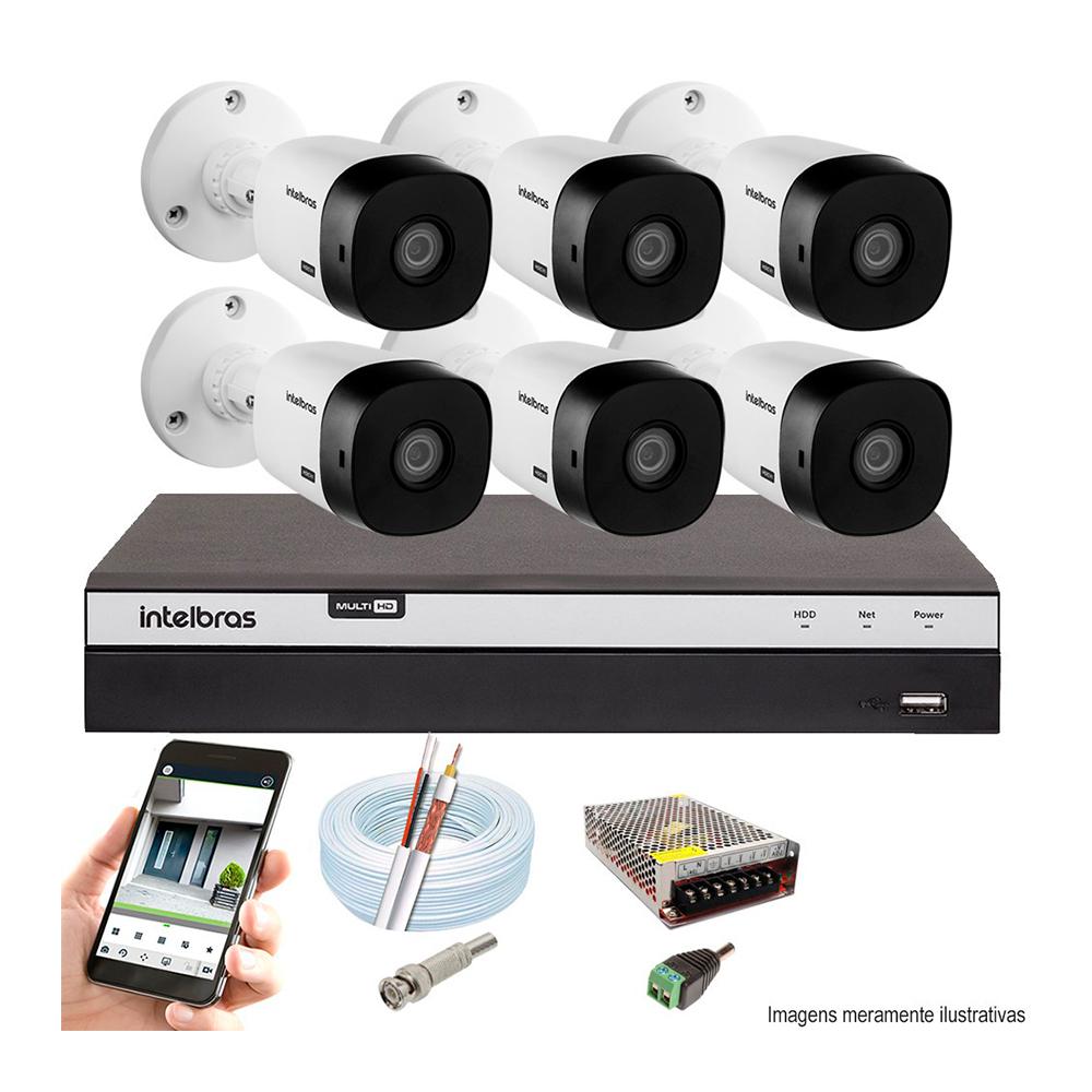 Kit Cftv 6 Câmeras Ahd-M 720P Dvr 8 Canais Mhdx Intelbras 5 Em 1 + Acessórios