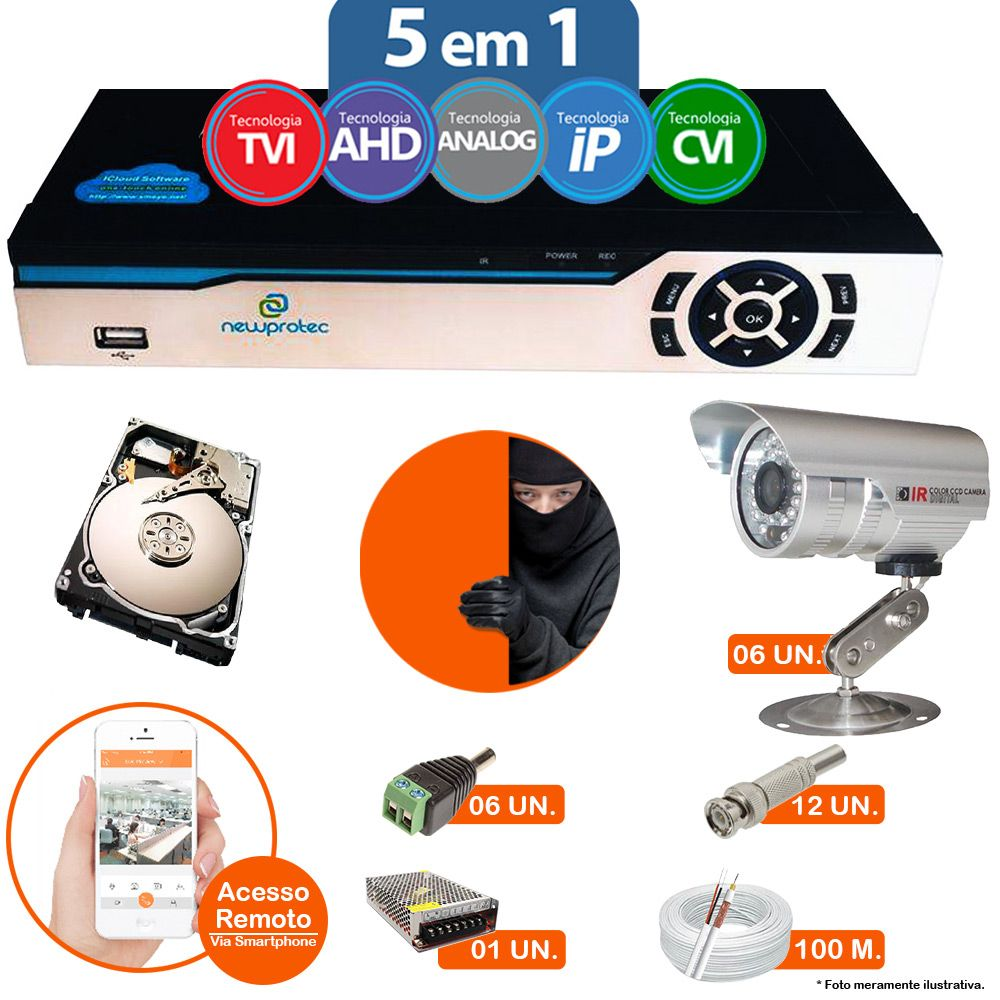 Kit Cftv 6 Câmeras Bullet CCD Infravermelho 3,6MM 1200L Dvr 8 Canais Newprotec 5 em 1 AHD, HDCVI, HDTVI E ANALOGICO E IP + HD 320GB