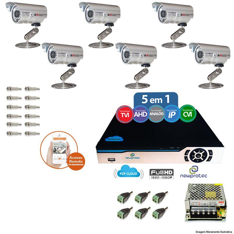 Kit Cftv 6 Câmeras Bullet CCD Infravermelho 3,6MM 1200L Dvr 8 Canais Newprotec + ACESSORIOS