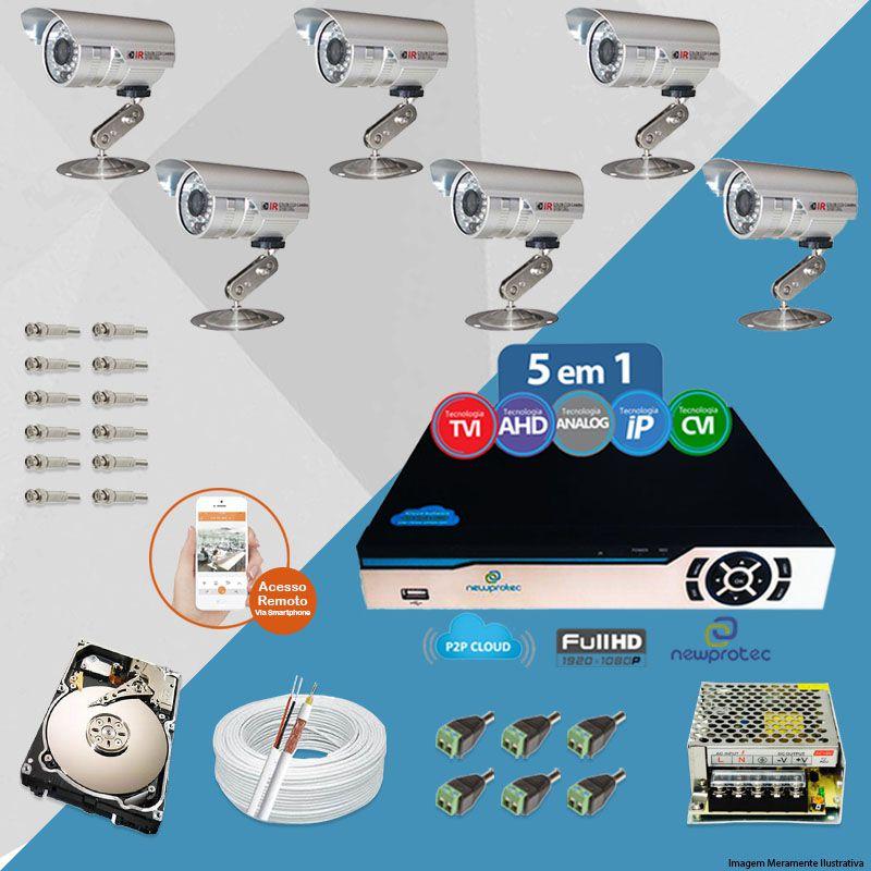 Kit Cftv 6 Câmeras Bullet CCD Infravermelho 3,6MM 1200L Dvr 8 Canais Newprotec + HD 1TB