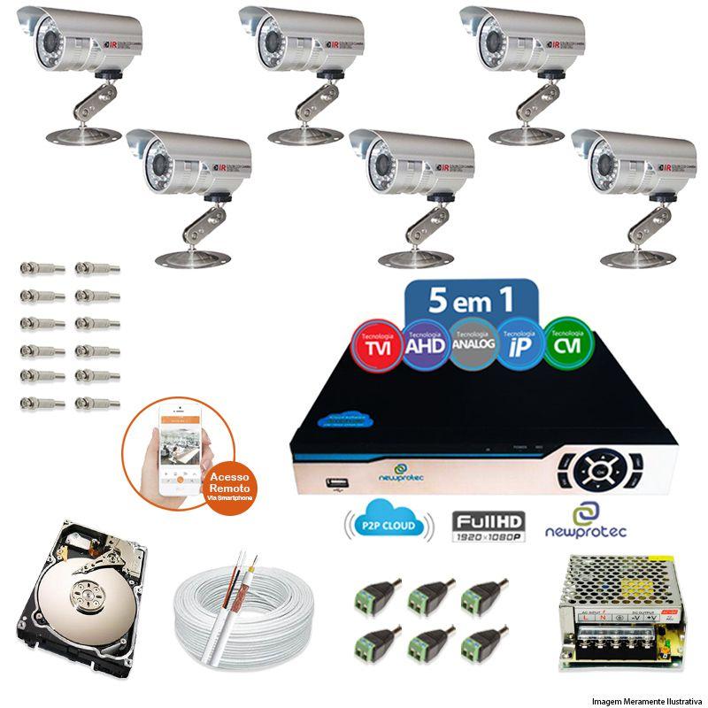 Kit Cftv 6 Câmeras Bullet CCD Infravermelho 3,6MM 1200L Dvr 8 Canais Newprotec + HD 320GB