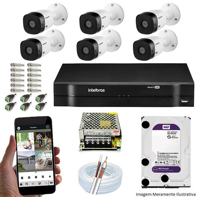 Kit Cftv 6 Câmeras Bullet HDCVI Lite VHL 1120B 720p G4 Dvr 8 Canais Intelbras MHDX + HD WDP 1TB