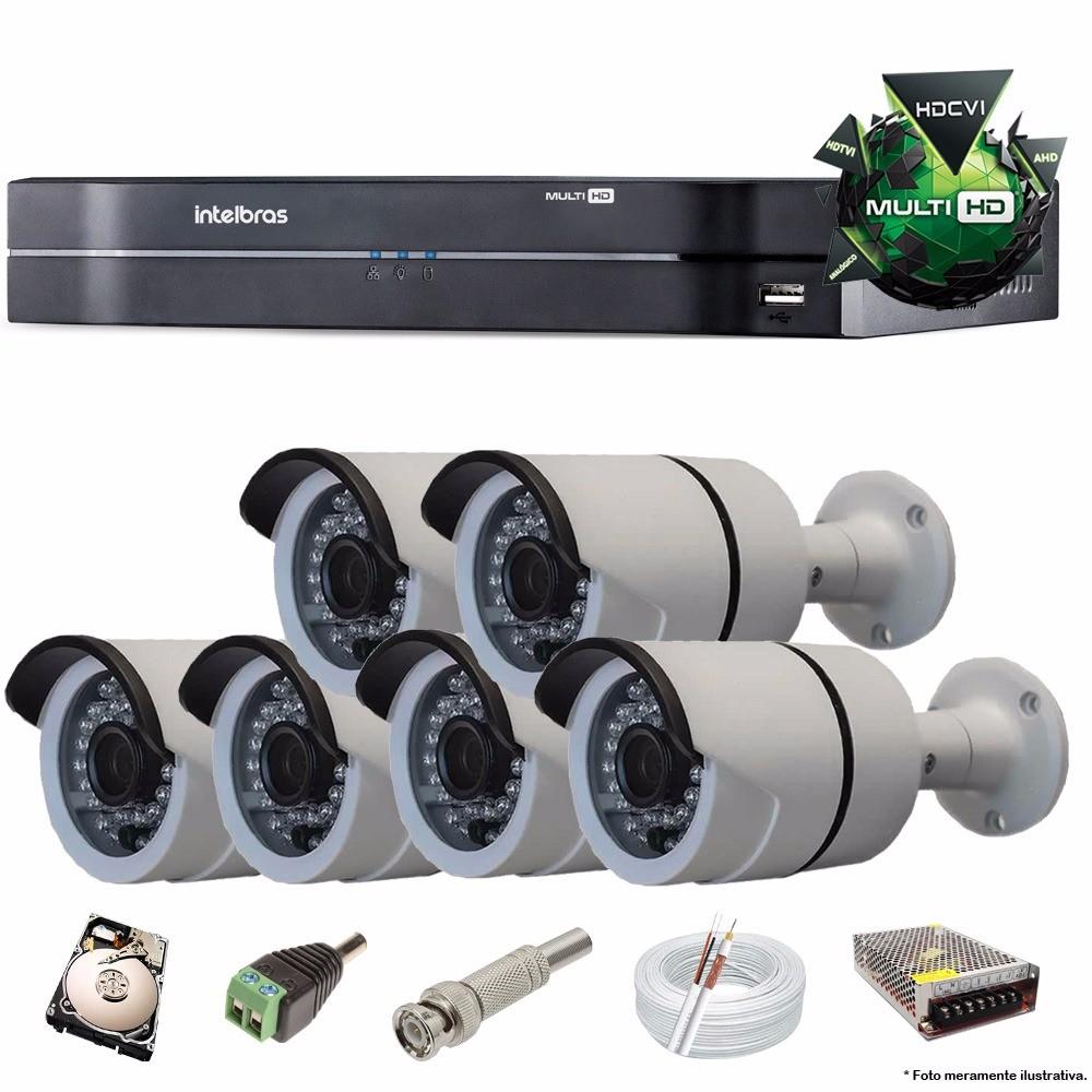 KIT CFTV 6 Câmeras CCD IR CUT 1500 TVL 3,6MM + DVR 8 Canais MultiHD Intelbras HD 500 GB Completo