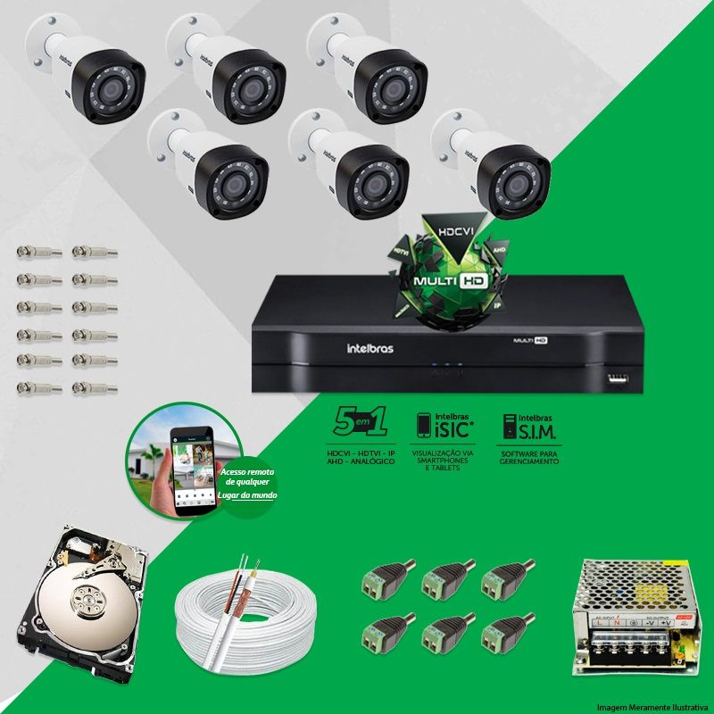 Kit Cftv 6 Câmeras VHD 1010B Bullet 720p Dvr 8 Canais Intelbras MHDX + HD 500GB