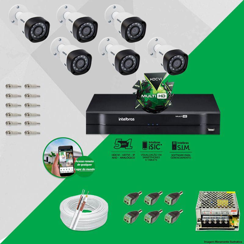 Kit Cftv 6 Câmeras VHD 1120B Bullet 720p Dvr 8 Canais Intelbras MHDX + ACESSÓRIOS