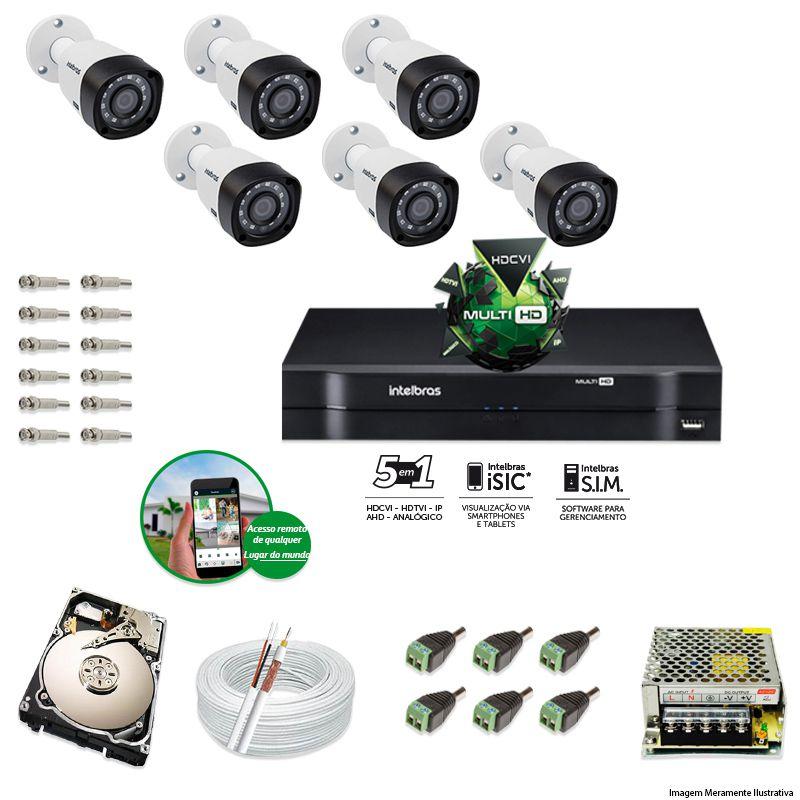 Kit Cftv 6 Câmeras VHD 1120B Bullet 720p Dvr 8 Canais Intelbras MHDX + HD 1TB