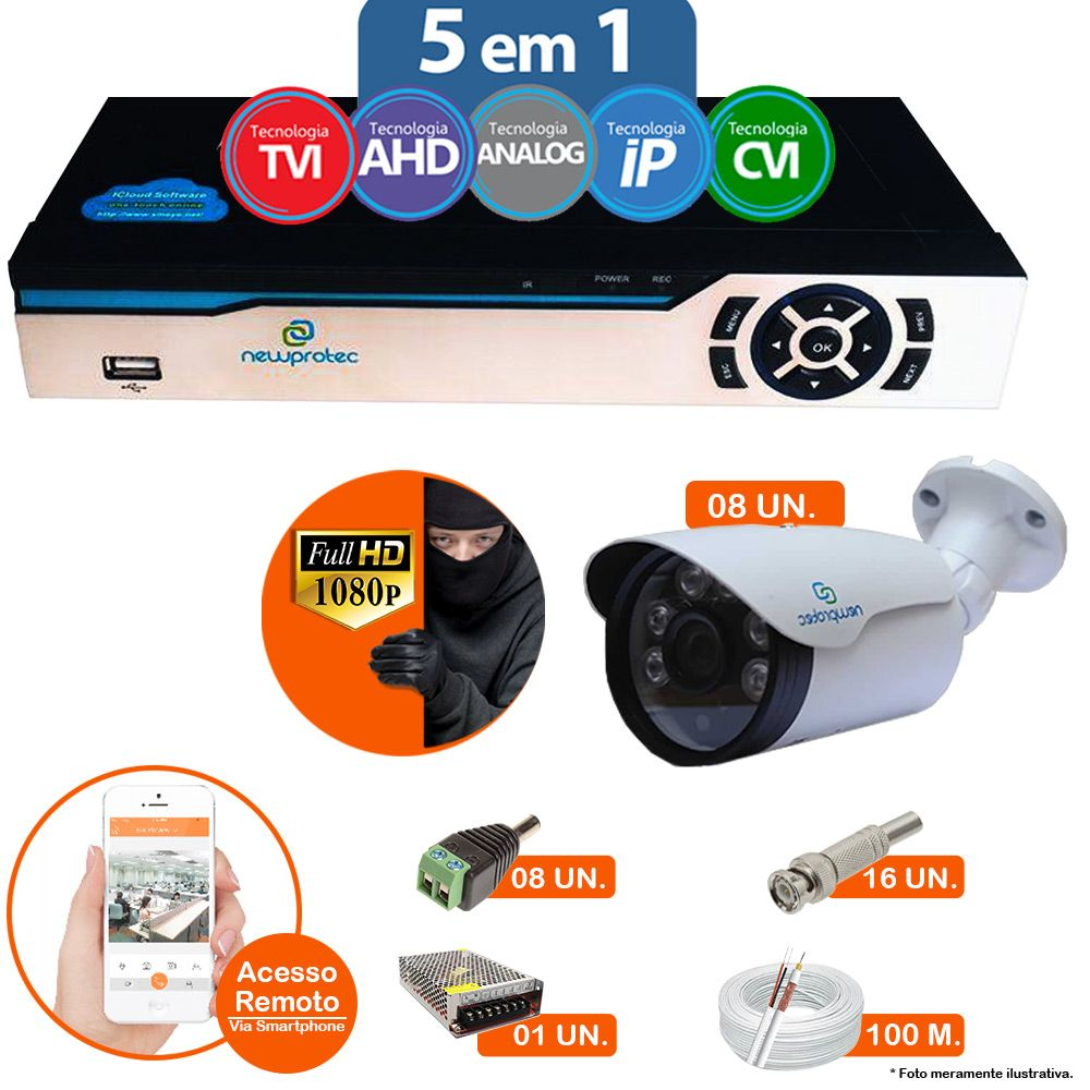 Kit Cftv 8 Câmeras 1080p IR BULLET NP 1004 Dvr 16 Canais Newprotec 5 em 1 + ACESSORIOS