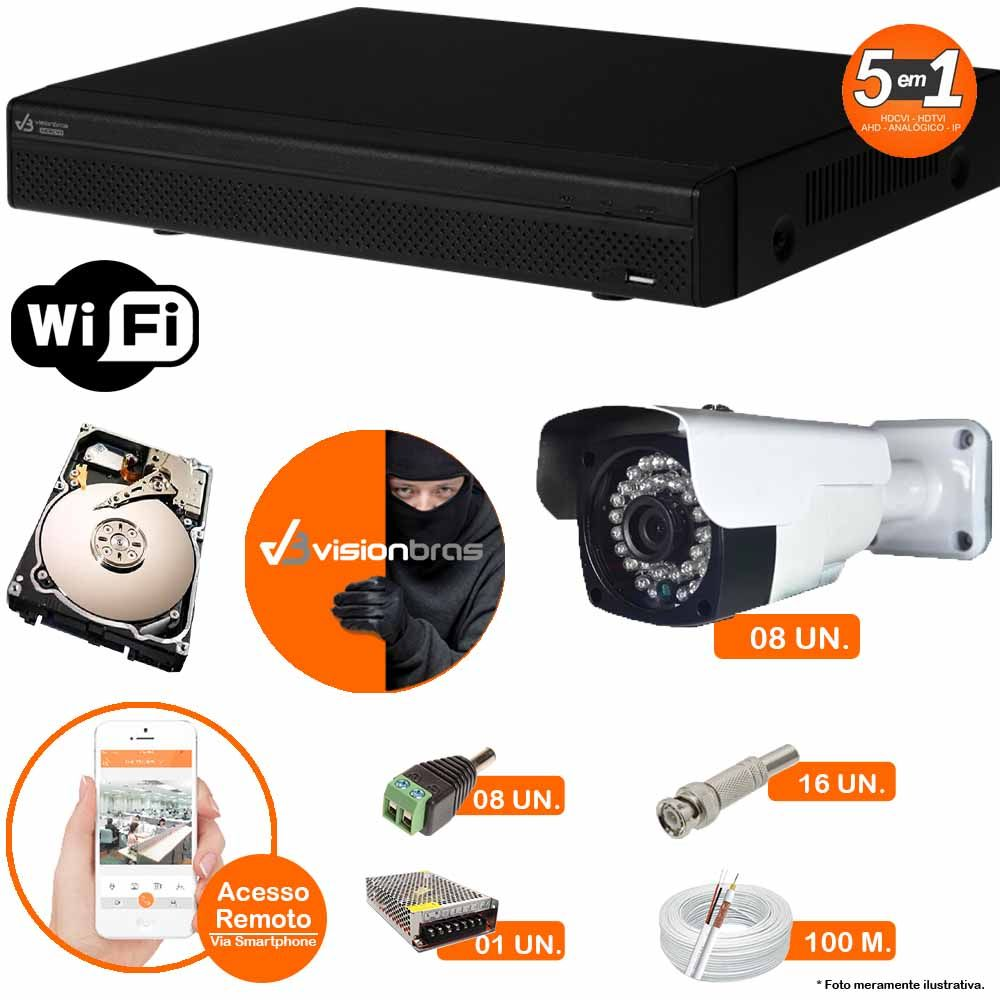 Kit Cftv 8 Câmeras AHD-M 608 2MP 720P 3,6MM Dvr 16 Canais Visionbras XVR 720p + HD 2 TB