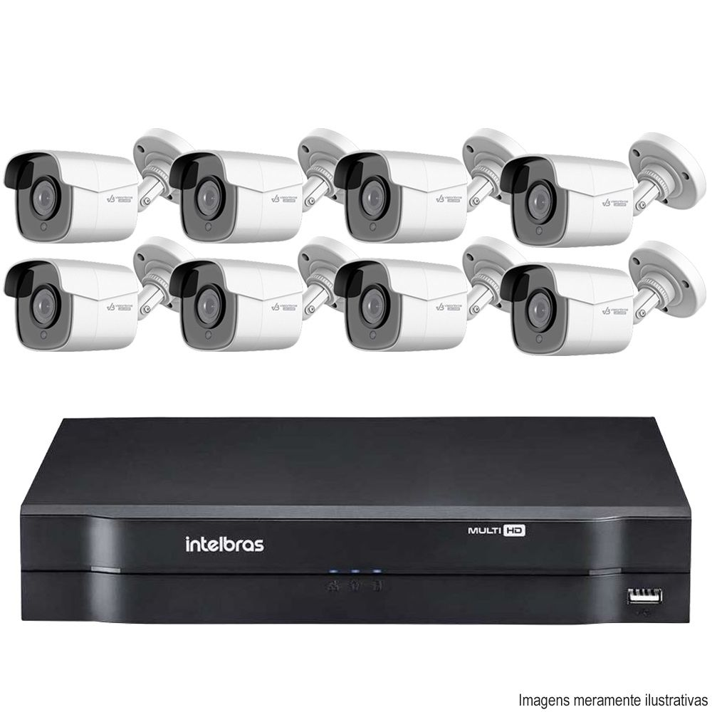 Kit Cftv 8 Câmeras AHD-M 720p Dvr 8 Canais MHDX Intelbras 5 em 1 + HD 500GB