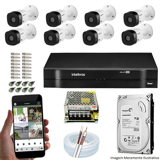 Kit Cftv 8 Câmeras Bullet HDCVI Lite VHL 1120B 720p G4 Dvr 16 Canais Intelbras MHDX + HD 1TB