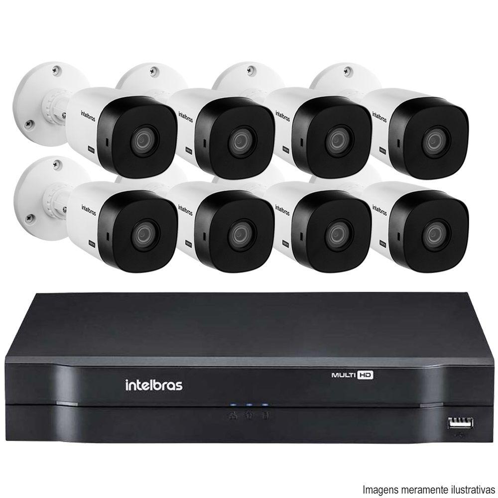 Kit Cftv 8 Câmeras Bullet HDCVI Lite VHL 1120B 720p G4 Dvr 8 Canais Intelbras MHDX + ACESSÓRIOS