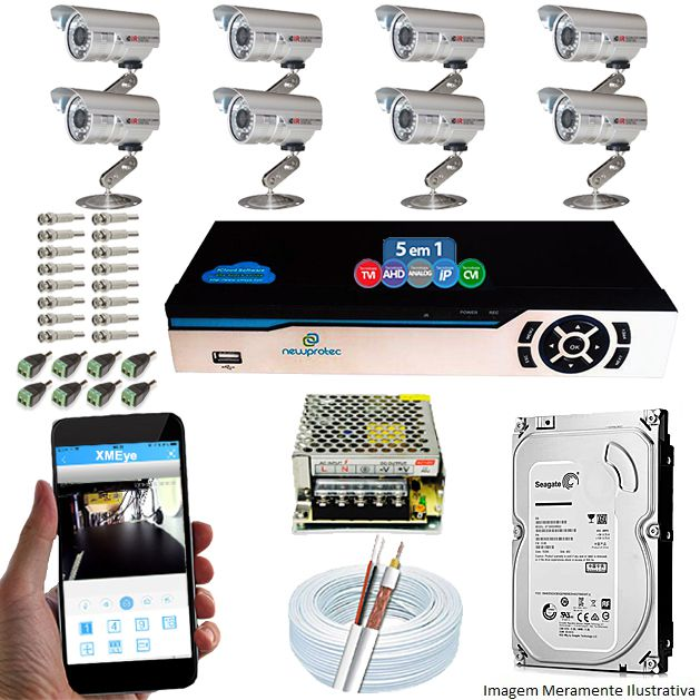 KIT CFTV 8 Câmeras Infravermelho 1200 TVL 3,6MM + DVR 8 Canais 5 em 1 + HD 1TB Completo