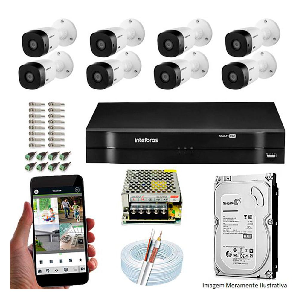 Kit Cftv 8 Câmeras Intelbras Vhd 3130 B G4 Hd 720P 30 Metros